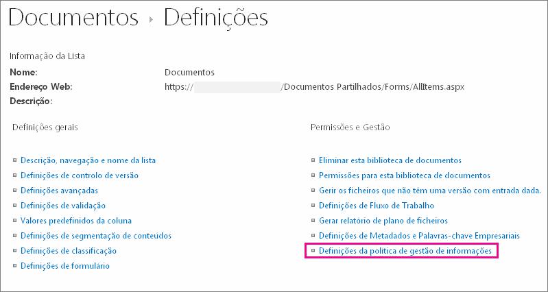 Ligação das políticas de gestão de informações na página definições para a biblioteca de documentos