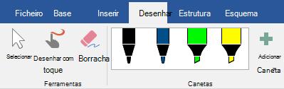 Canetas e marcadores no separador desenhar no Office 365