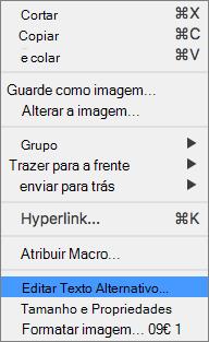 Excel 365 Editar menu Alt Text para imagens