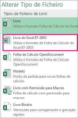Formato Livro do Excel 97-2003