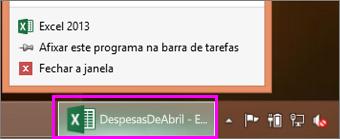 barra de tarefas com o ícone do livro do Excel