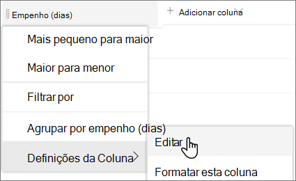 O painel de coluna editar no SharePoint com a opção Eliminar selecionada