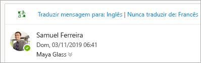 Captura de ecrã do pedido de tradução de uma mensagem