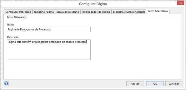 Caixa de diálogo de texto alternativo de uma página no Visio.