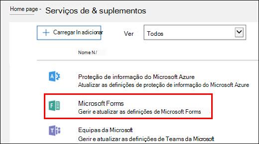 Definições de administrador do Microsoft Forms