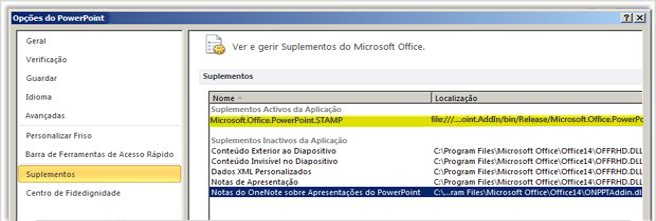 Ecrã Opções | Suplementos do PowerPoint com o suplemento STAMP realçado