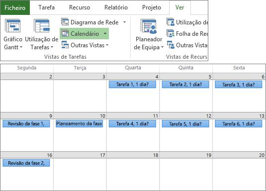 Captura de ecrã combinada dos grupos Vistas de Tarefas e Vistas de Recurso no separador Ver, e de um plano de projeto na vista Calendário.
