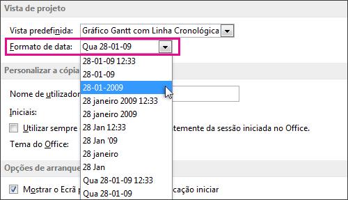 Lista do formato da data na caixa de diálogo Opções do Project