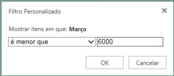 aplicação de um filtro personalizado para mostrar valores inferiores a um determinado critério