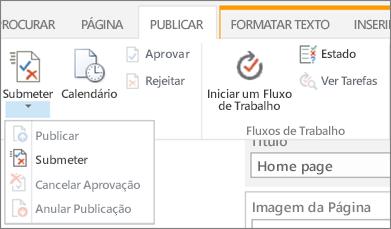 Submeter, publicar botões no separador Publicar no modo Editar.