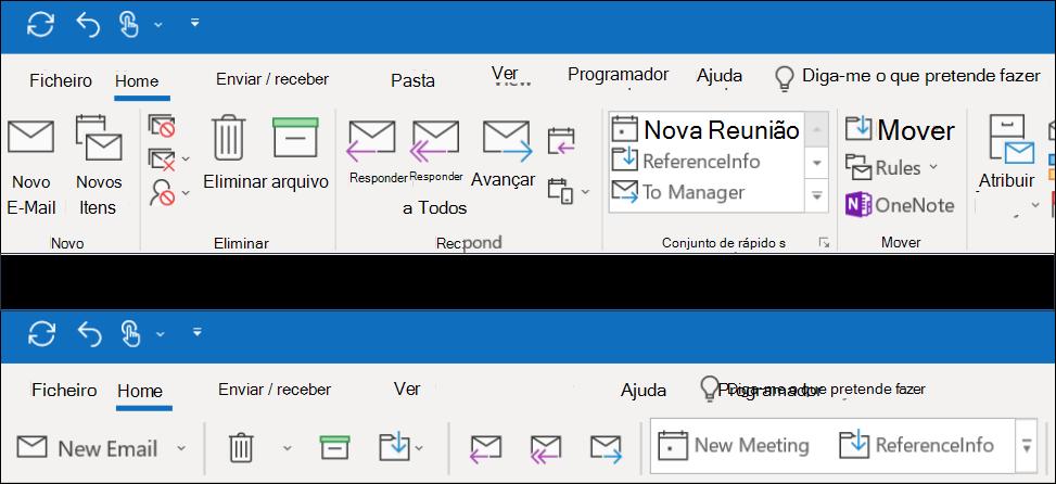Agora pode escolher entre duas experiências de fita diferentes no Outlook.