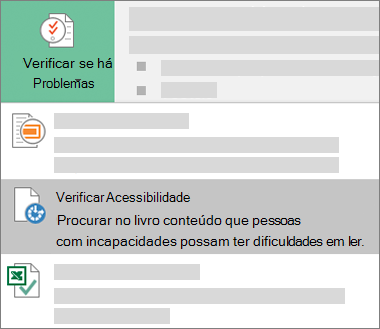Item do menu Verificar Acessibilidade