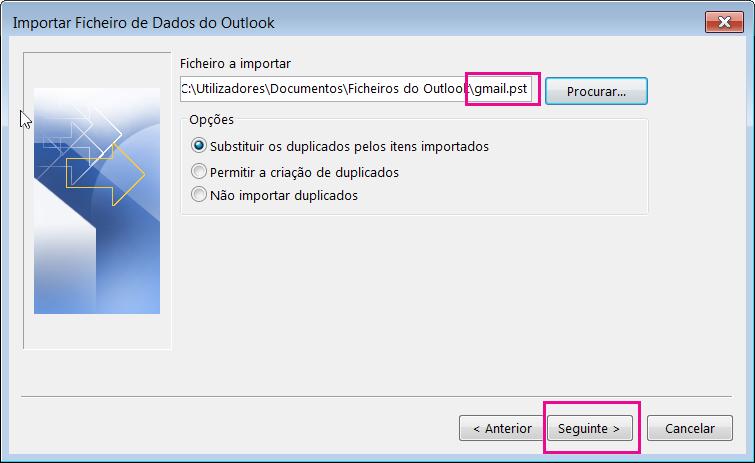 Selecione o ficheiro PST criado para o poder importar.