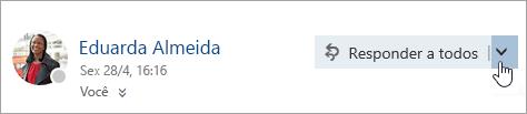 Uma captura de ecrã do botão Mais ações