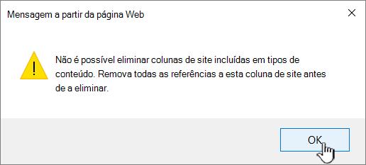 Mensagem de erro quando não é possível eliminar a coluna