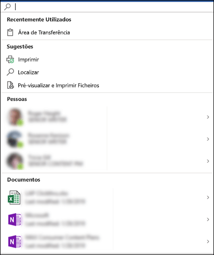 A caixa da Microsoft Pesquisa selecionada