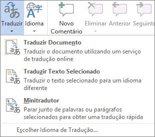 Ferramentas de tradução disponíveis em programas do Office