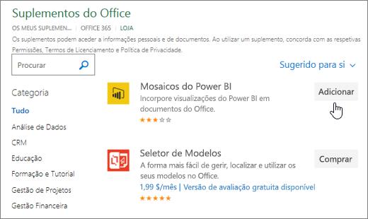 Captura de tela da página de suplementos do Office onde pode selecionar ou procurar um suplemento para o Excel.