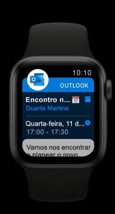 Apple Watch a mostrar o próximo compromisso do calendário do Outlook