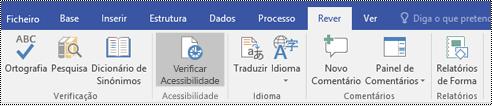 O botão Verificador de Acessibilidade no Visio.