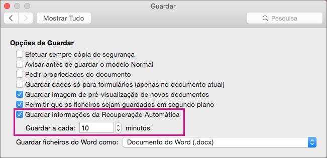 Na caixa de diálogo Guardar, selecione Guardar informações de Recuperação Automática e, em seguida defina o intervalo ao especificar os minutos na caixa Guardar a cada.