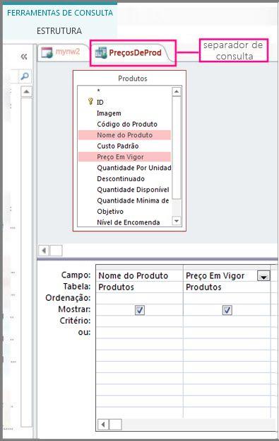 Vista do estruturador de consulta realçando o separador consulta