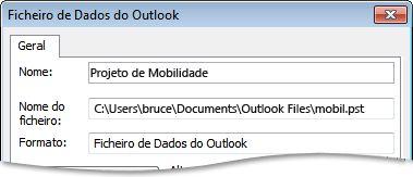 Caixa de diálogo Ficheiro de Dados do Outlook