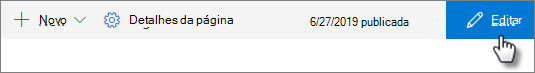 Botão de edição na barra superior da página