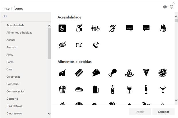 Pode escolher um ícone para inserir a partir da biblioteca de ícones no Office
