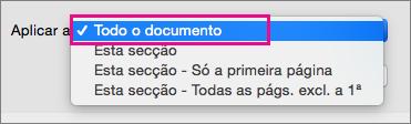 Aplicar ao menu com Todo o documento realçado