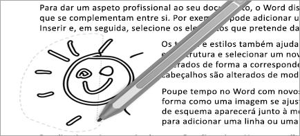 Mostra a seleção de laço no documento