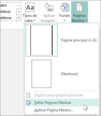 Captura de ecrã da lista pendente Editar Páginas Mestras no Publisher.