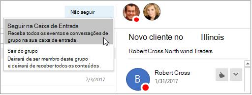 Botão anular a subscrição no cabeçalho grupos no Outlook 2016