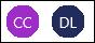 Ícones com as iniciais CC e DL dos contribuidores