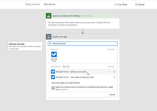 Captura de ecrã a mostrar o Microsoft To-Do selecionado