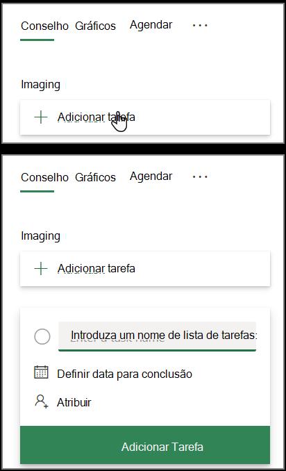 Captura de ecrã da caixa Adicionar tarefa no Planner