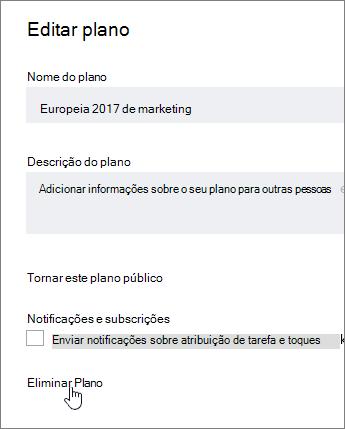A partir de editar um plano, clique em Eliminar plano