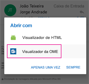 Visualizador da OME com o Outlook para Android 2