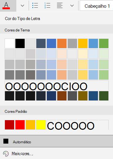 Opções de cores de tipo de letra do correio para Windows 10