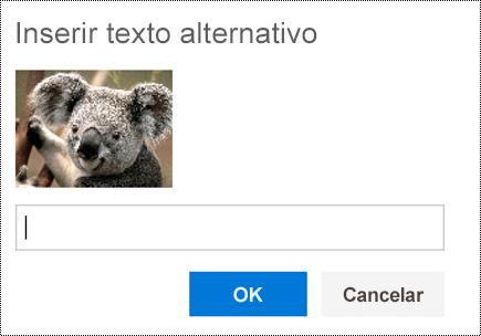 Adicionar texto alternativo a imagens no Outlook na Web.