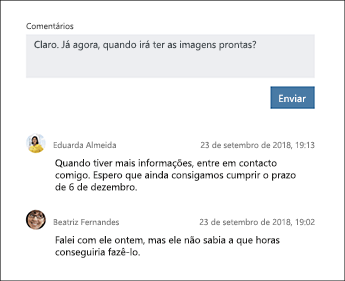 Captura de ecrã da secção Comentários de uma tarefa do Planner