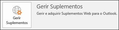 Botão Gerir suplementos no Outlook