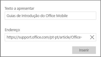 Captura de ecrã a mostrar a caixa de diálogo para adicionar uma ligação de hipertexto no OneNote para Windows 10.
