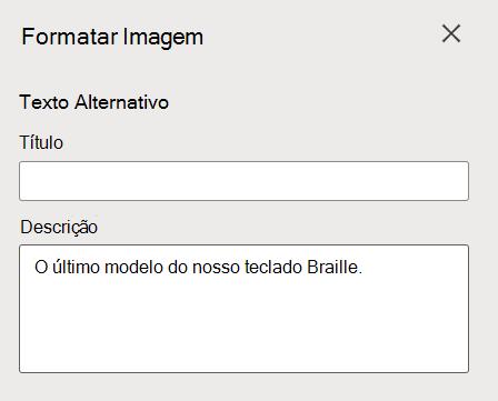 Formato Imagem Alt Texto painel em Word para a web.