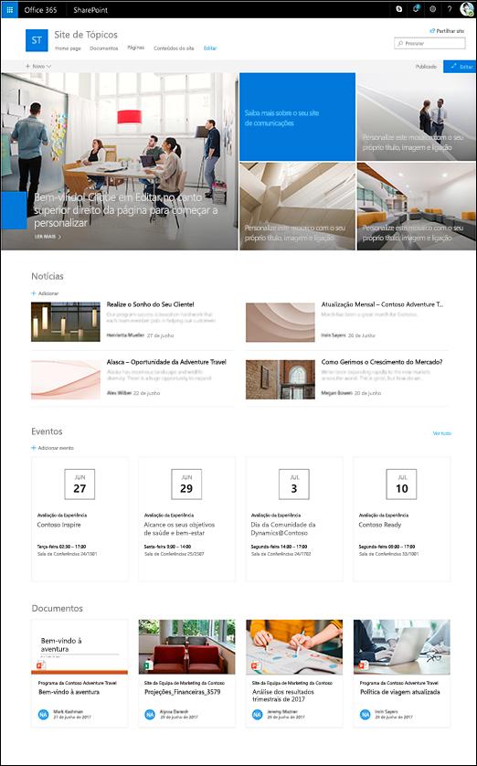 Estrutura de tópicos do site de comunicação do SharePoint