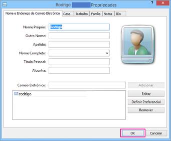 Selecione OK para cada contacto que pretende importar para o ficheiro CSV.