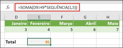 Utilizar constantes de matriz em fórmulas. Neste exemplo, utilizei = soma (D9: H (* sequência (1; 5))
