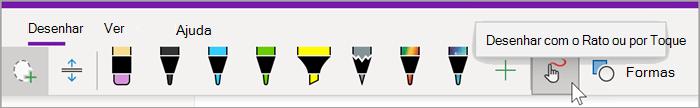 """captura de ecrã do separador desenhar do OneNote para Windows 10 com o rato a pairar sobre o botão """"Desenhar com o Rato ou por Toque"""""""
