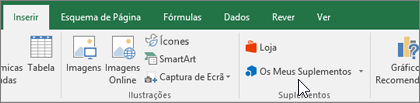 No separador Inserir do Friso, encontrará o grupo Suplementos para gerir os suplementos do Excel