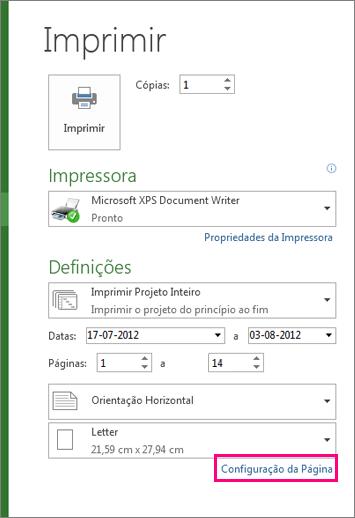 caixa de diálogo configurar página para excluir a legenda da impressão